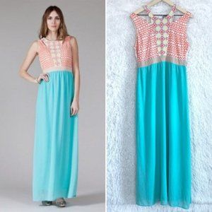Embroidered Maxi Dress Blue Cut Out Flying Tomato
